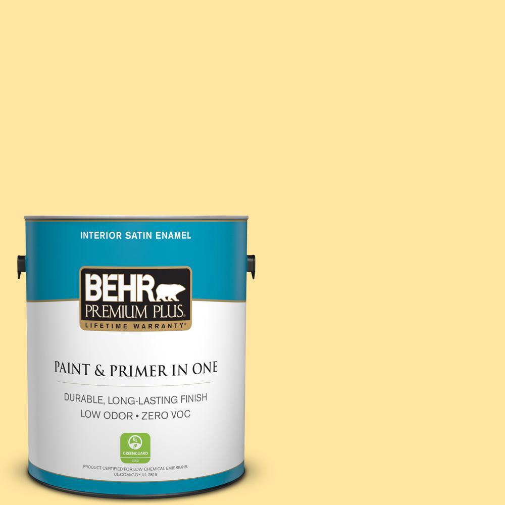1-gal. #340B-4 Lemon Drops Zero VOC Satin Enamel Interior Paint