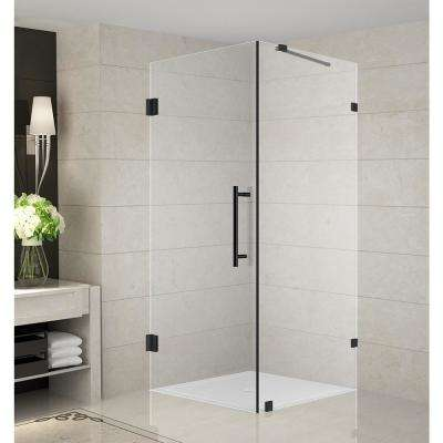 Aquadica 36 in. x 72 in. Frameless Corner Hinged Shower Door in Matte Black