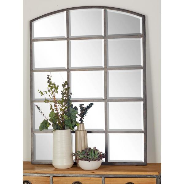 48 in. x 36 in. Arched Window Pane-Inspired Mettalic Black Decorative Wall Mirror
