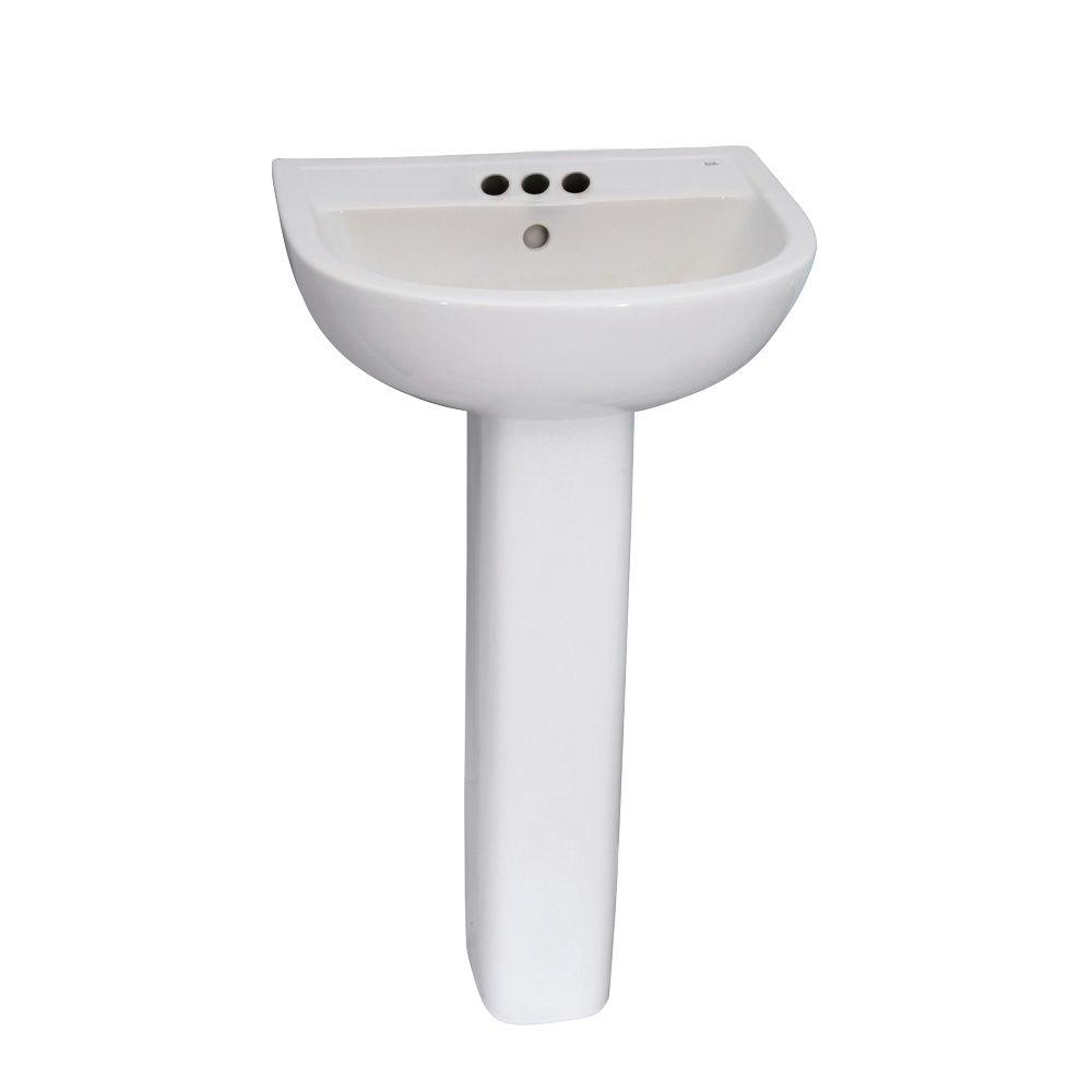 Compact 500 Pedestal Combo Bathroom Sink in White