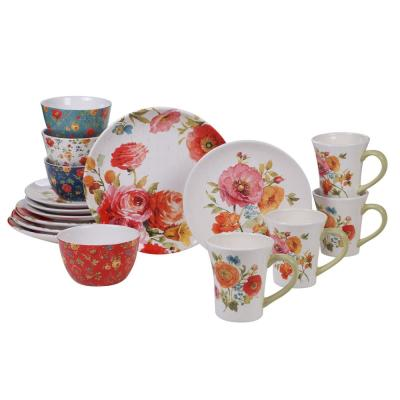 Country Fresh 16-Piece Multi-Colored Dinnerware Set