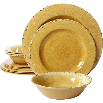 Mauna 12-Piece Yellow Crackle Dinnerware Set