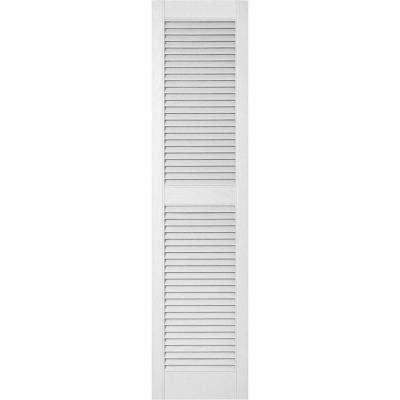 18 in. x 61 in. Lifetime Vinyl Custom Straight Top Center Mullion Open Louvered Shutters Pair Paintable