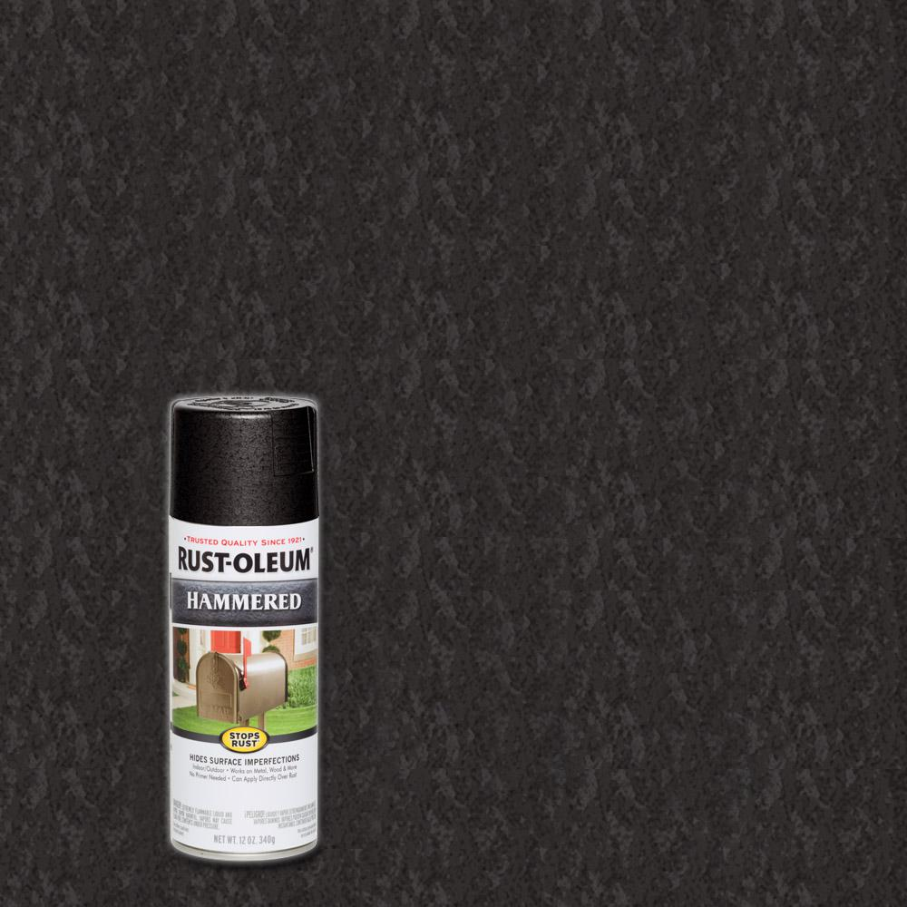 Rust Oleum Stops 12 Oz Hammered Black Protective Spray Paint