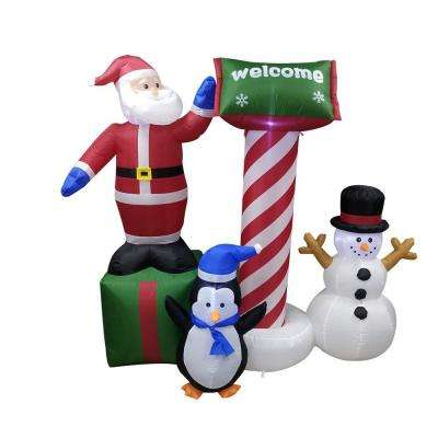 60 in. Christmas Inflatable Crew with UL Certified Blower and Welcome Sign