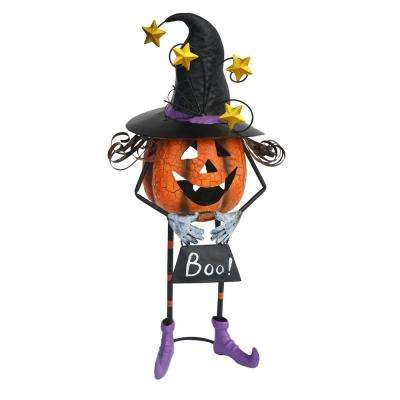 24 in. Metal Pumpkin with Witch Hat Candle Holder