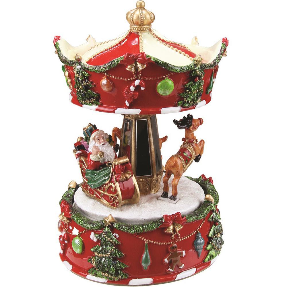 animated musical santa and reindeer carousel christmas music box