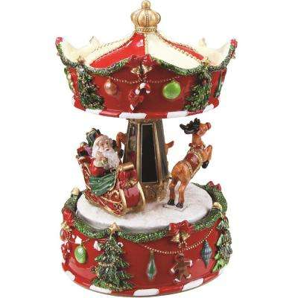6.25 in. Animated Musical Santa and Reindeer Carousel Christmas Music Box