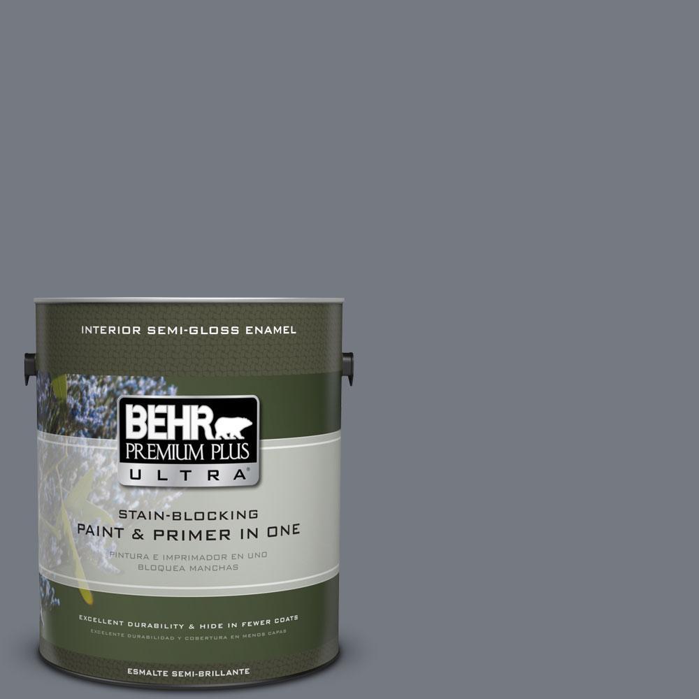 BEHR Premium Plus Ultra 1 gal. #N510-5 Liquid Mercury Color Semi-Gloss Enamel Interior Paint