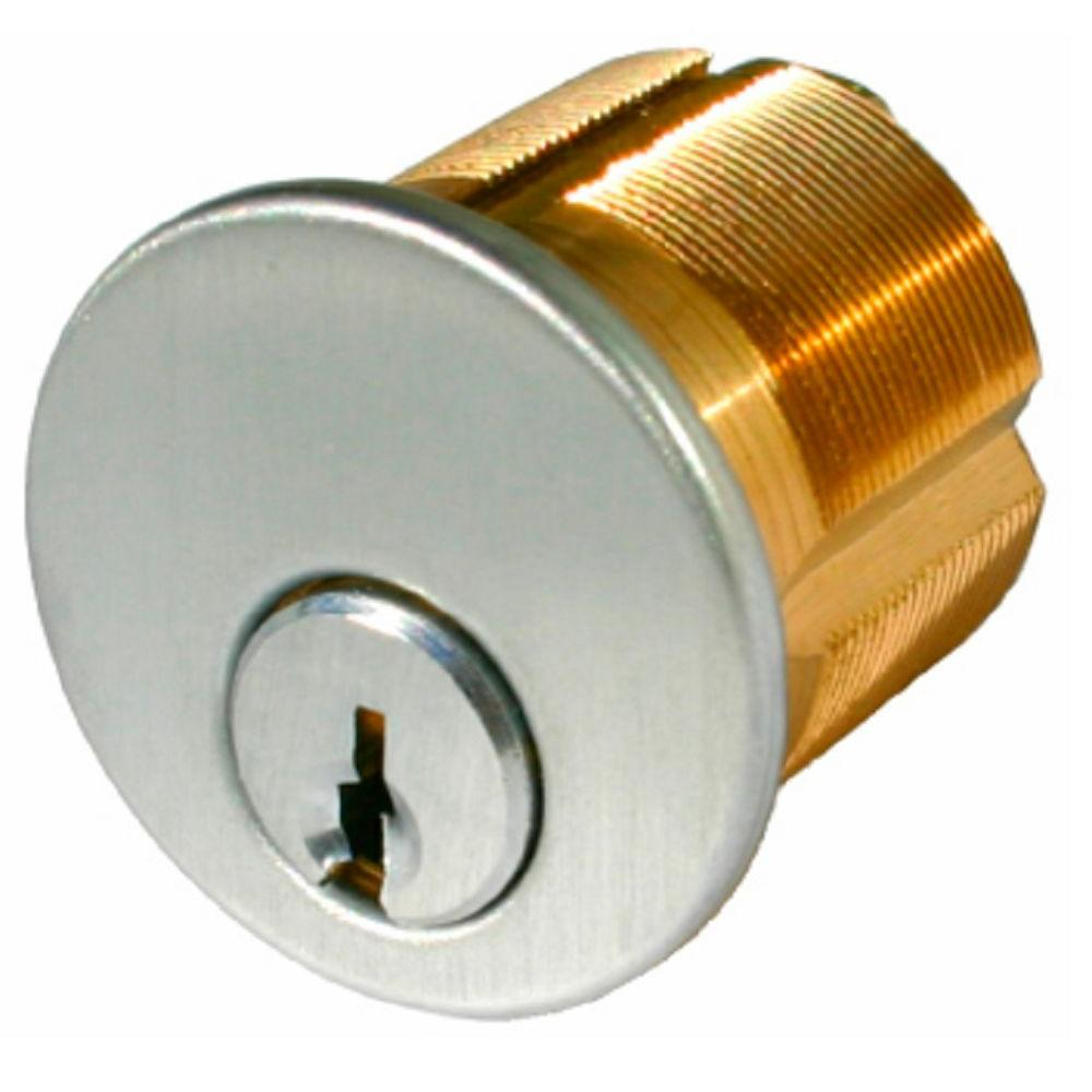 1 1 8 In Satin Chrome Mortise Cylinder With Schlage