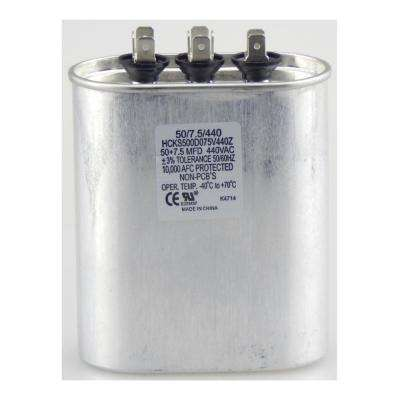 440-Volt 50/7.5 MFD Dual Rated Motor Run Oval Capacitor