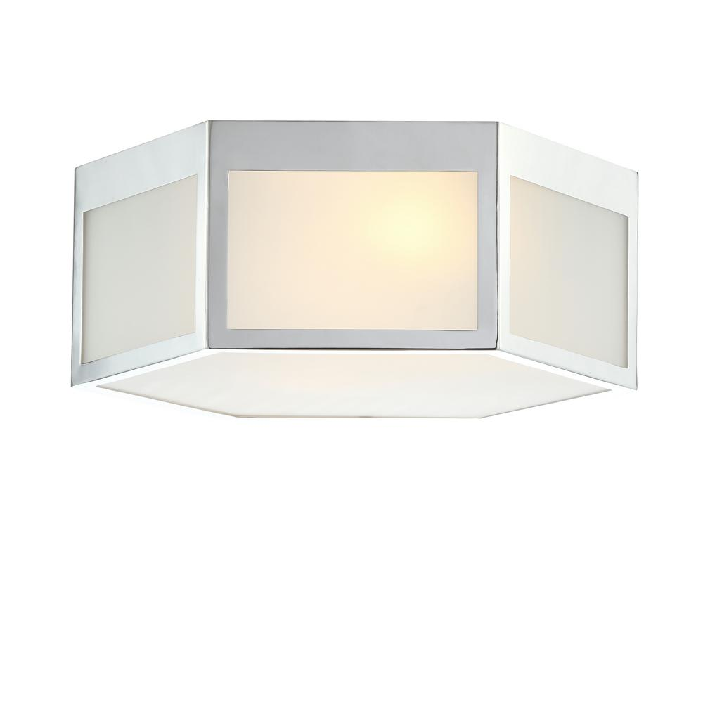 new style 1de5b f88d6 JONATHAN Y Moderno 15.75 in. Chrome Hexagon Metal/Frosted Glass LED Flush  Mount