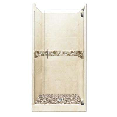 Tuscany Grand Hinged 38 in. x 38 in. x 80 in. Center Drain Alcove Shower Kit in Desert Sand and Satin Nickel Hardware