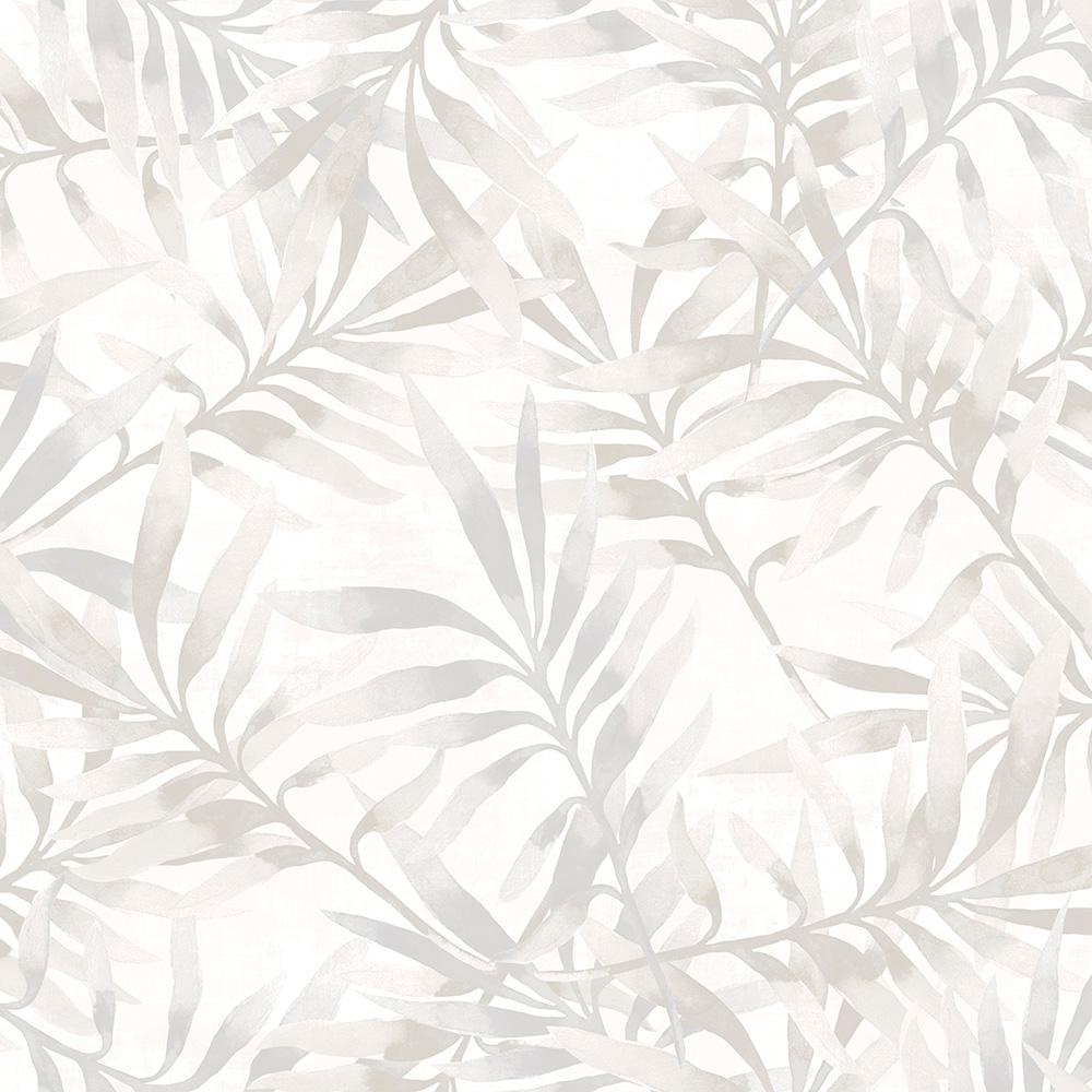 Tropical Leaf Branch Floral Green And White Wallpaper