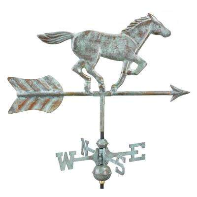 Horse Cottage Weathervane - Blue Verde Copper with Roof Mount