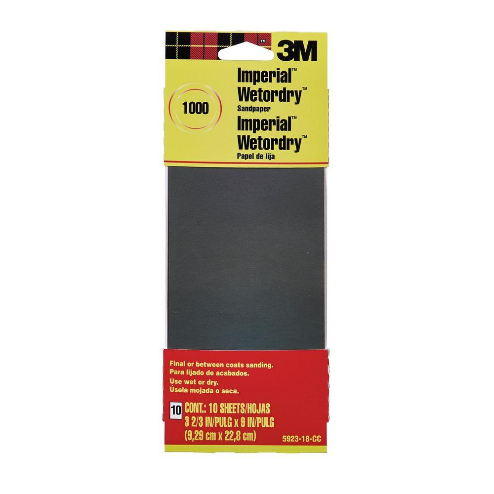 3M 3-2/3 in. x 9 in. 1000 Grit Sandpaper (10 Sheets-Pack)