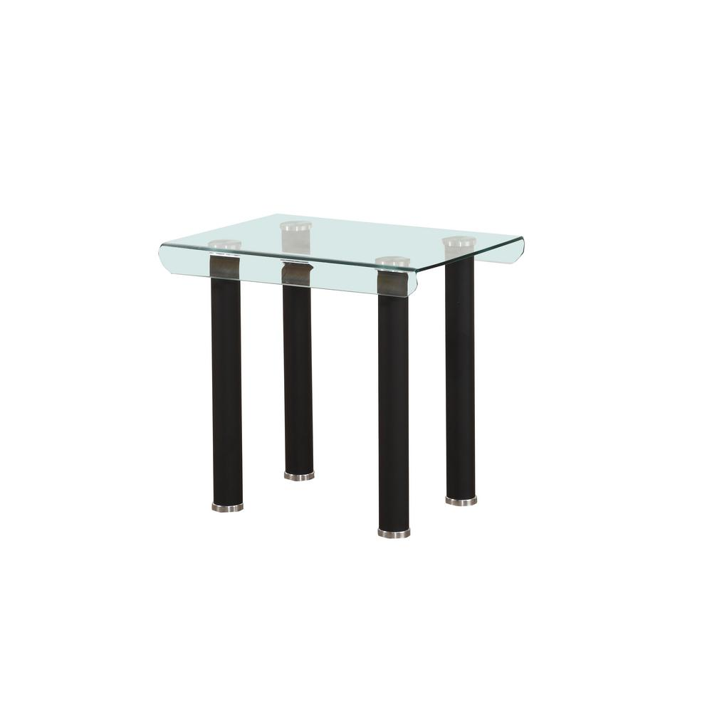 Gordias Clear Glass and Black End Table