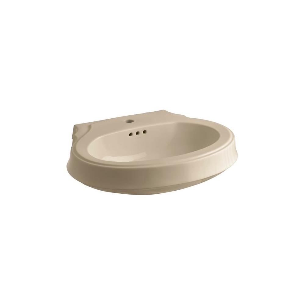 KOHLER Leighton 4-1/8 in. Pedestal Sink Basin in Mexican Sand-DISCONTINUED