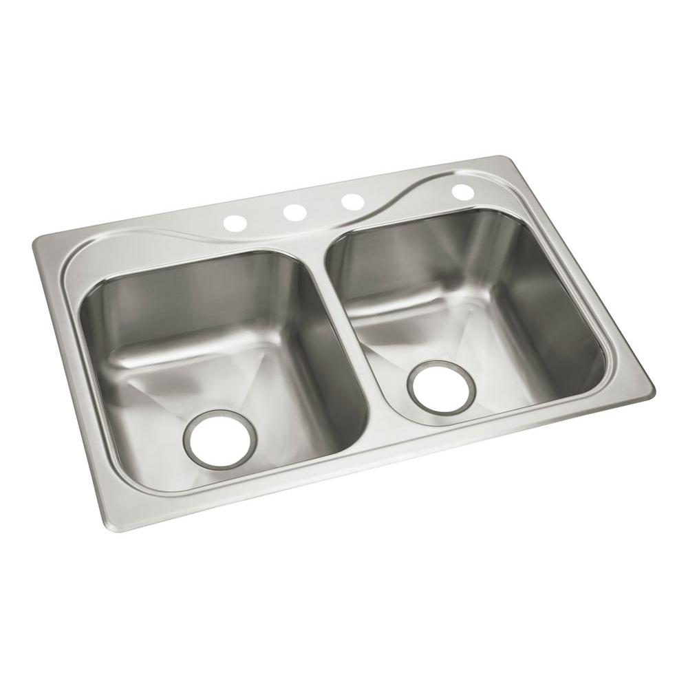 STERLING Southhaven Drop-In Stainless Steel 22 in. 4-Hole Double Bowl  Kitchen Sink
