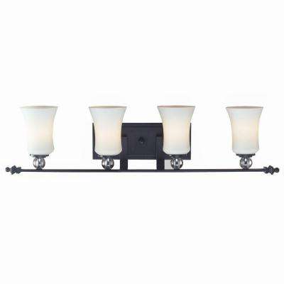 Lawrence 4-Light Matte Black Incandescent Bath Vanity Light