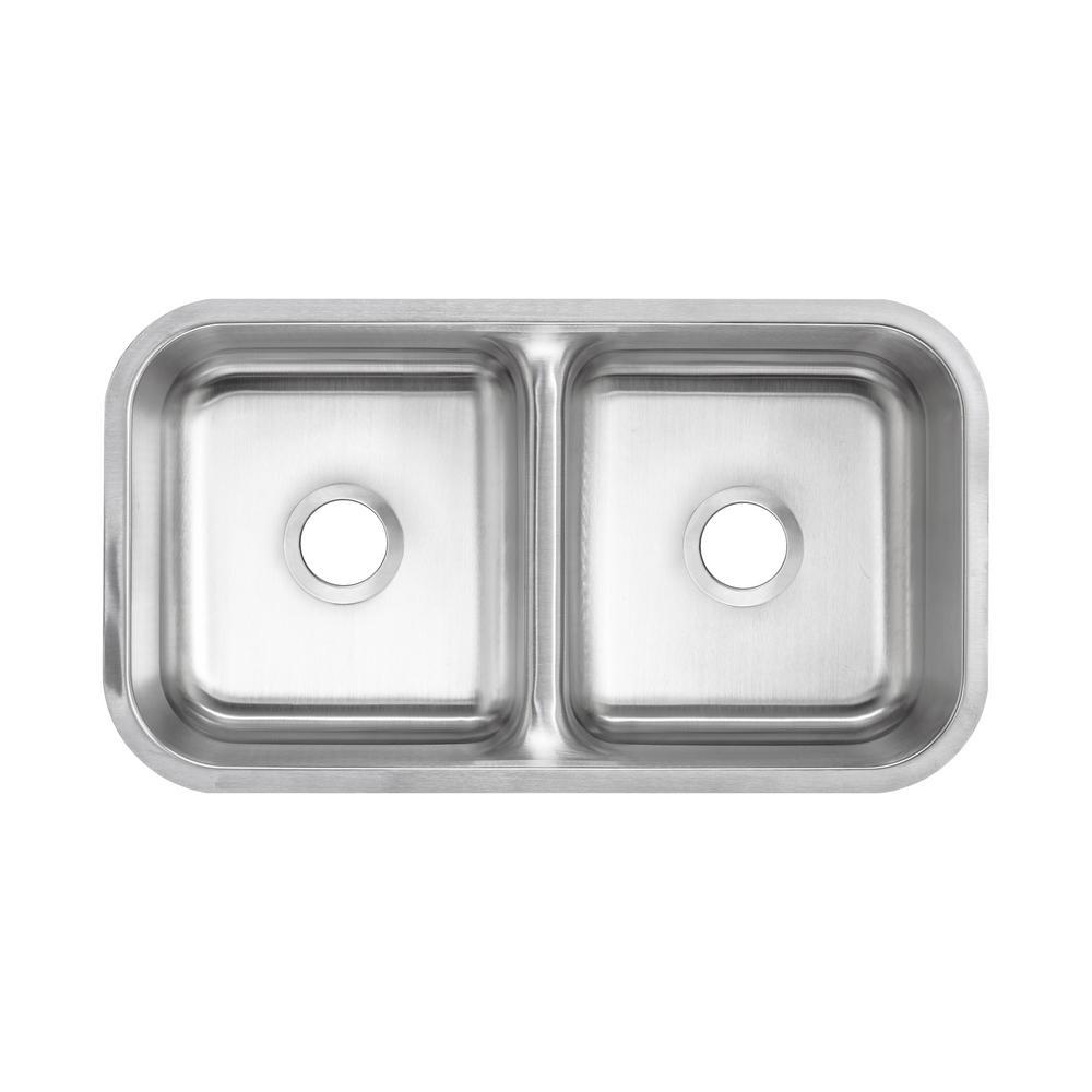 Glacier Bay Undermount 16-Gauge Stainless Steel 32 in. 0-Hole Low Divider Double Bowl Kitchen Sink