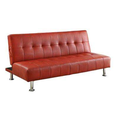 Bulle Red Leatherette Futon