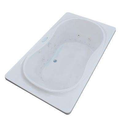 Star Diamond Series 6 ft. Center Drain Rectangular Drop-in Whirlpool and Air Bath Tub in White