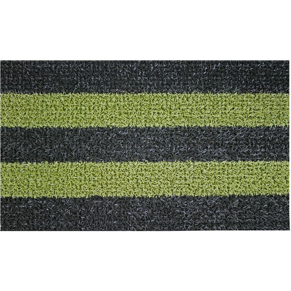 Patio Stripe Black Olive 18 In X 30 Door Mat