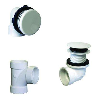 Illusionary Overflow, Sch. 40 PVC Plumbers Pack with Tip-Toe Bath Drain in Powder Coat White
