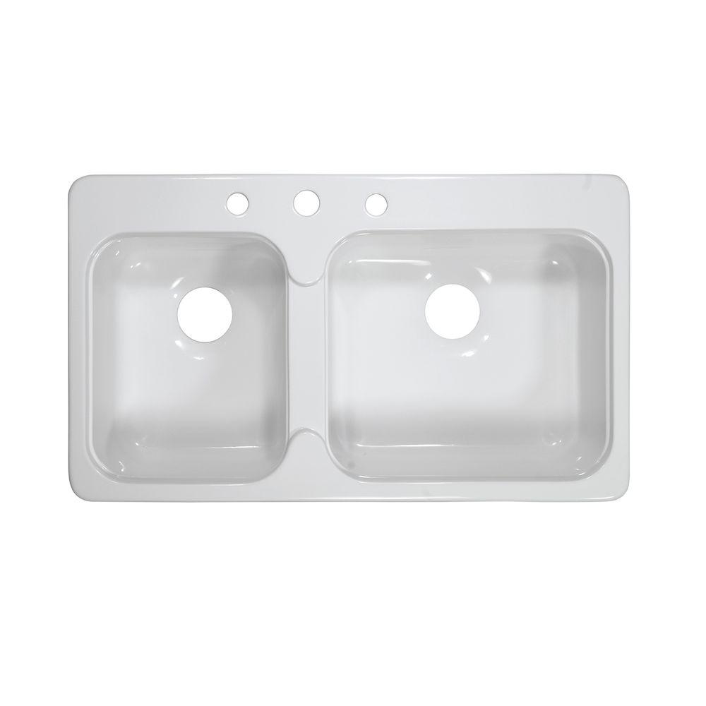 Lyons Industries Style C Dual Mount Acrylic 33x19x7.25 in. 3-Hole 40/60 Double Basin Kitchen Sink in White