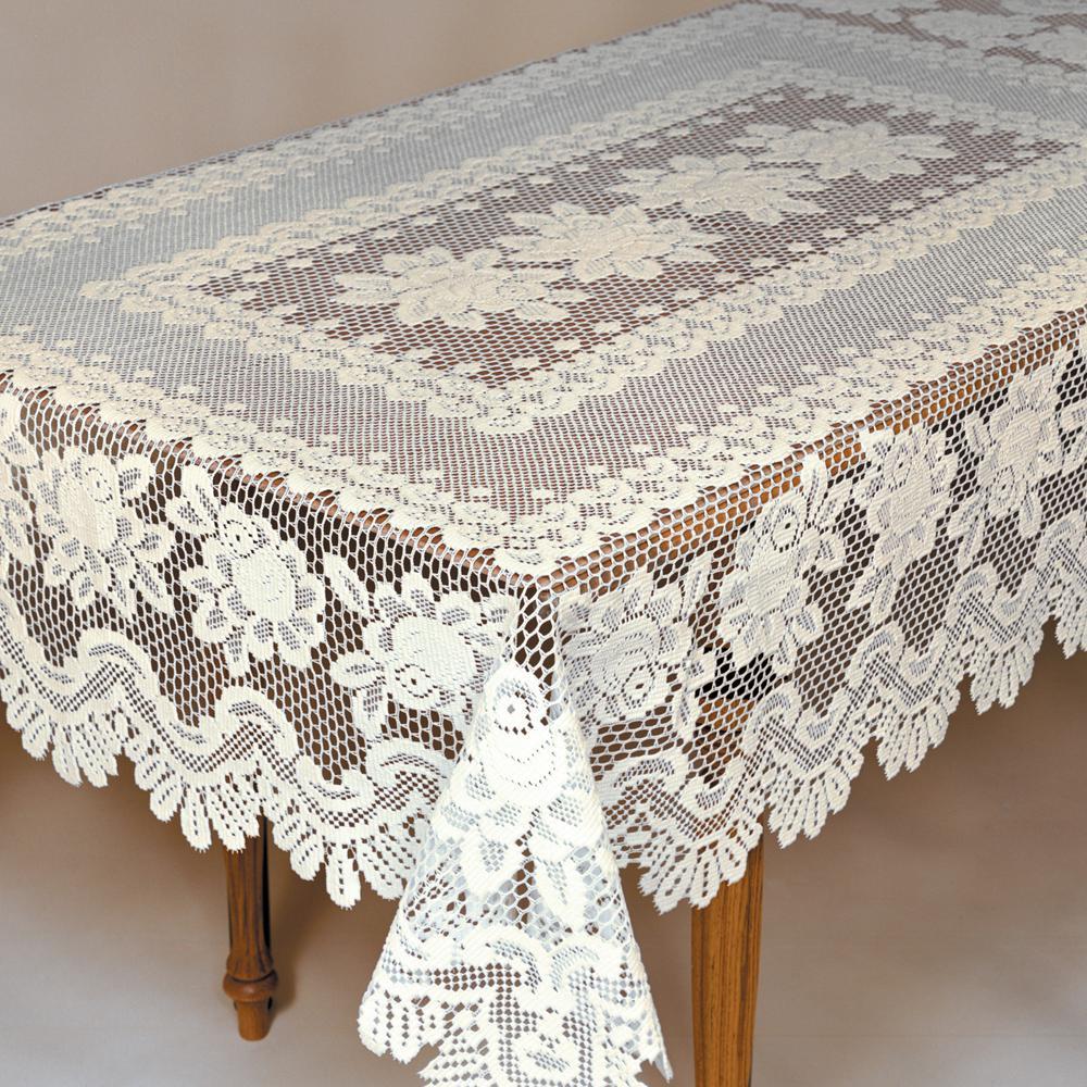 Rose Rectangle ECRU Polyester Tablecloth