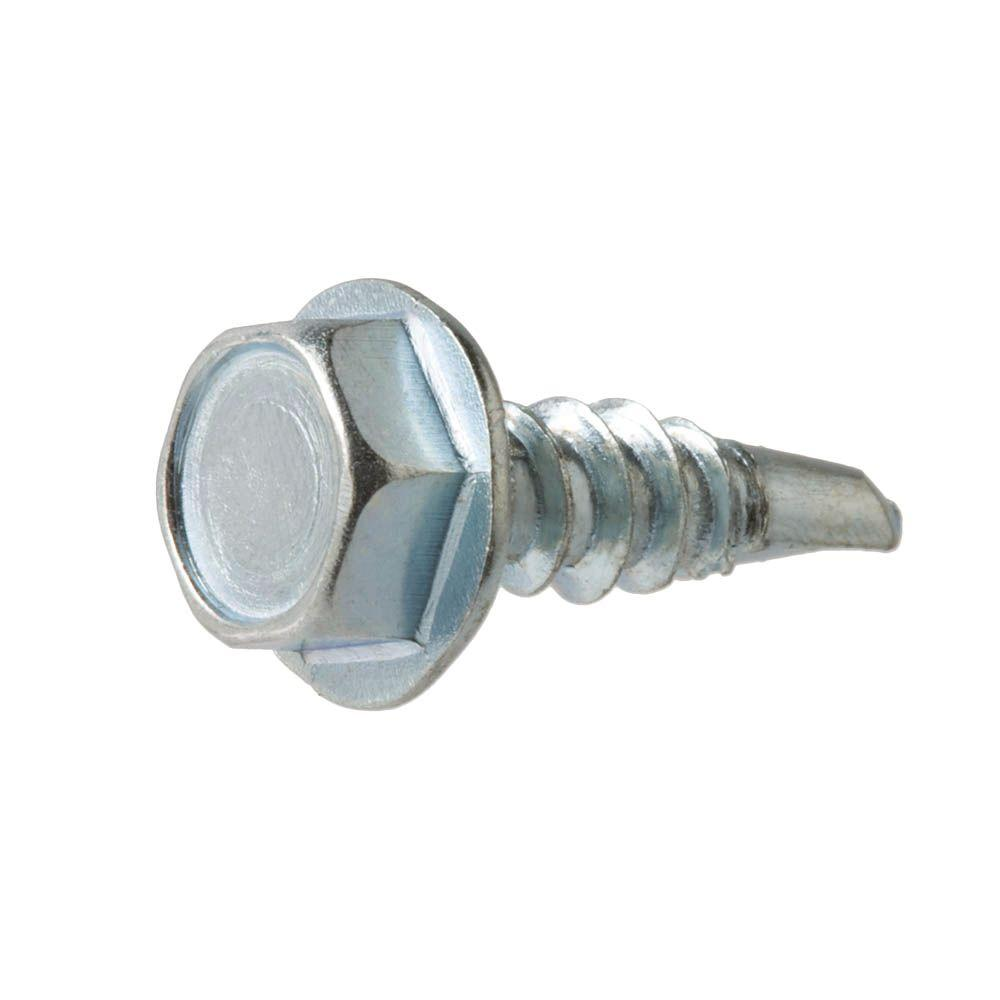 #8 x 1 in. Zinc-Plated Steel Hex-Washer-Head Slotted Sheet Metal Screws