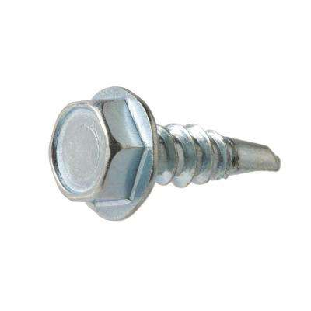 #8 x 1 in. Zinc-Plated Steel Hex-Washer-Head Slotted Sheet Metal Screws (100-Pack)