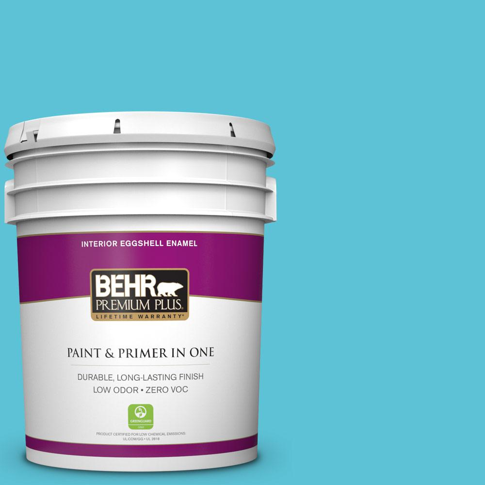 BEHR Premium Plus 5-gal. #P480-4 Rushing Stream Eggshell Enamel Interior Paint