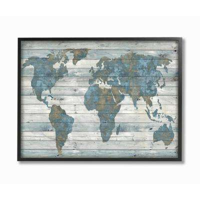 "16 in. x 20 in. ""Slate Blue and Tan Rustic Weathered World Map"" by Artist Jamie MacDowell Framed Wall Art"