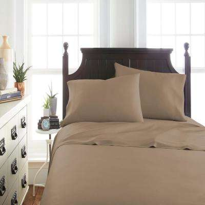 Bamboo 4-Piece Taupe Full Bed Sheet Set