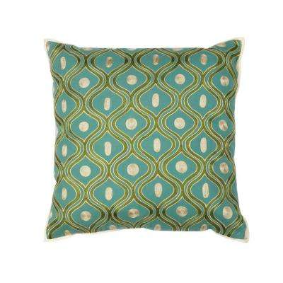 Scollop Teal/Gold Decorative Pillow