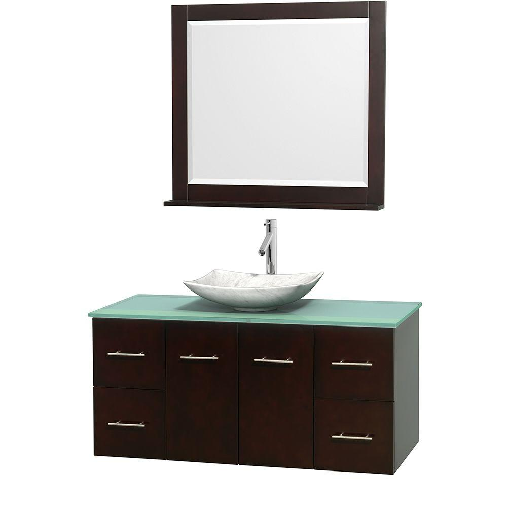 Centra 48 in. Vanity in Espresso with Glass Vanity Top in