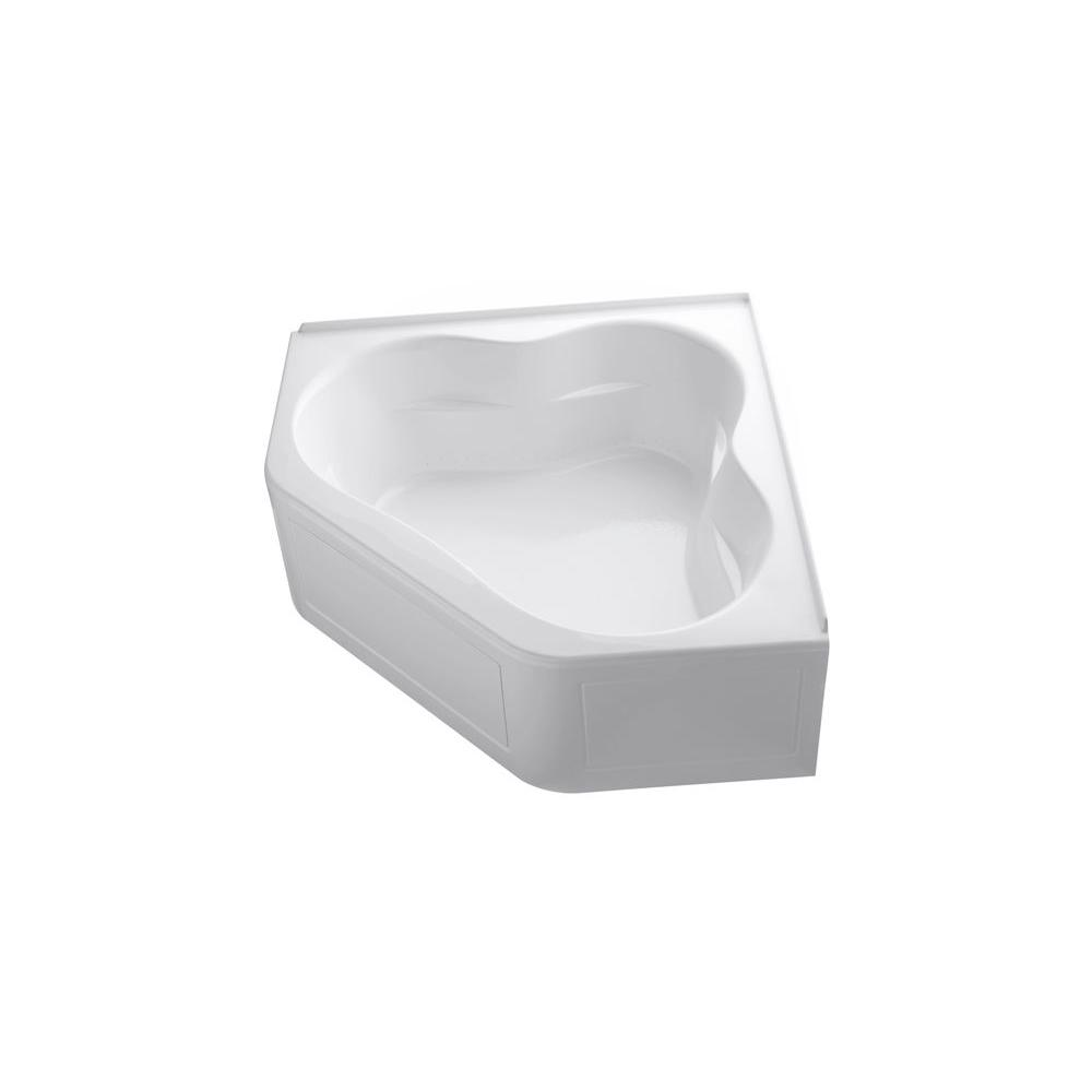 Tercet 5 ft. Acrylic Center Drain Neo-Angle Straight Corner Alcove Air