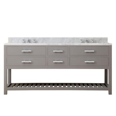 72 in. W x 21.5 in. D Vanity in Cashmere Grey with Marble Vanity Top in Carrara White and Chrome Faucets