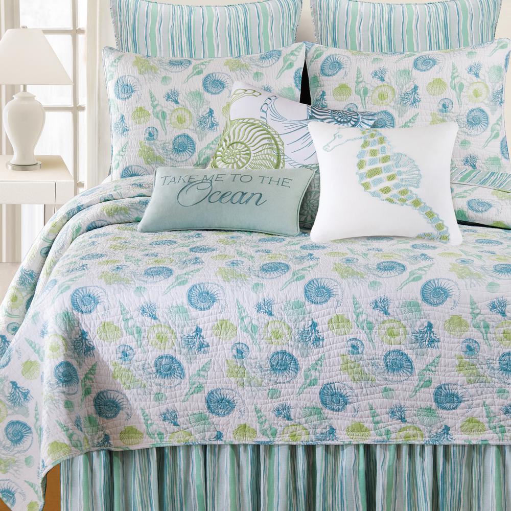 3-Piece Blue Full/Queen Quilt Set