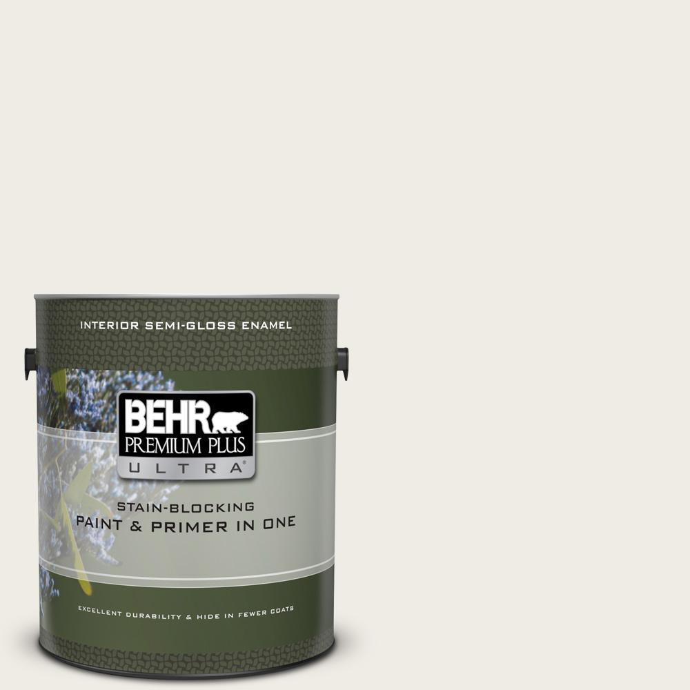 BEHR Premium Plus Ultra 1 gal. #UL170-12 Silky Whites Semi-Gloss Enamel Interior Paint and Primer in One