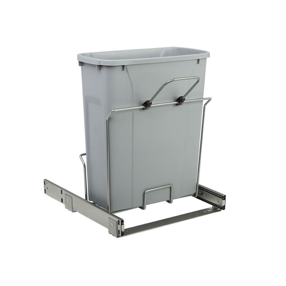 Knape & Vogt 14.375 in. x 16 in. x 17.313 in. 20 Qt. In-Cabinet Single Soft-Close Bottom-Mount Pull-Out Trash Can