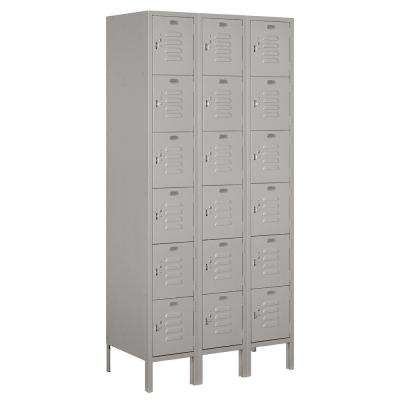 66000 Series 36 in. W x 78 in. H x 18 in. D 6-Tier Box Style Metal Locker Unassembled in Gray