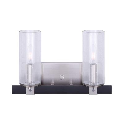 Cedar 14 in. 2-Light Matte Black and Brushed Nickel Vanity Light with Seeded Glass Shades