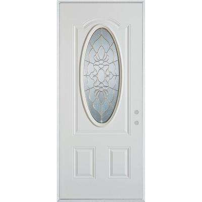 32 in. x 80 in. Traditional Patina 3/4 Oval Lite 2-Panel Painted White Left-Hand Inswing Steel Prehung Front Door