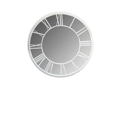 36 in. Dia Round Garden Mirror with Roman Numerals White