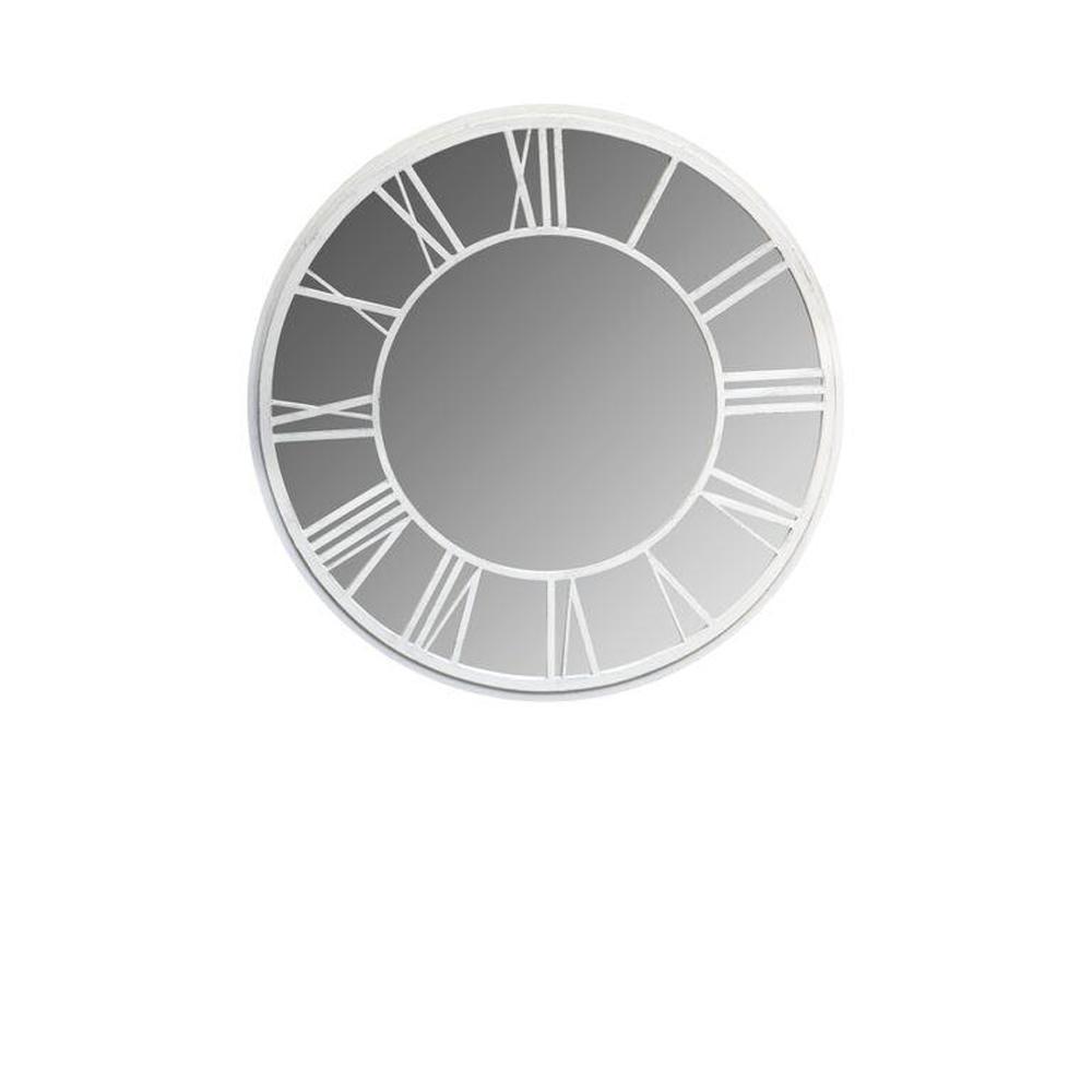 36 in. Dia Round Garden Mirror with Roman Numerals White