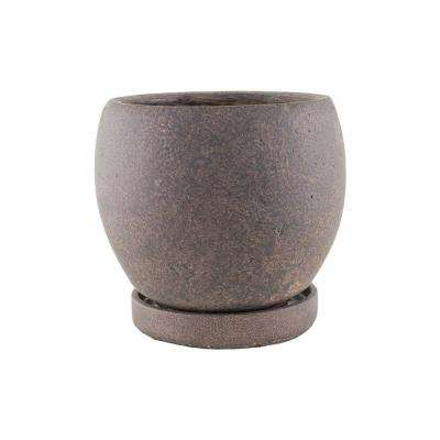 5-3/4 in. Round Cement Pot with Tray