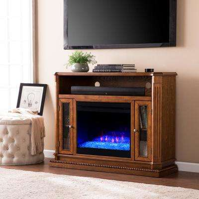 Torres Color Changing 47 in. Electric Fireplace Media Stand in Rich Brown Oak